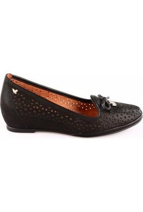 İloz Kadın 380744 Gizli Dolgu Taban Lazerli Ayakkabı Siyah Simli