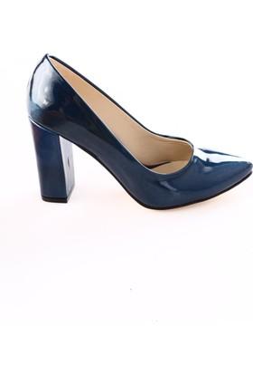 Dgn Kadın 3834 Sivri Burun Topuklu Ayakkabı Petrol Sıvama Rugan