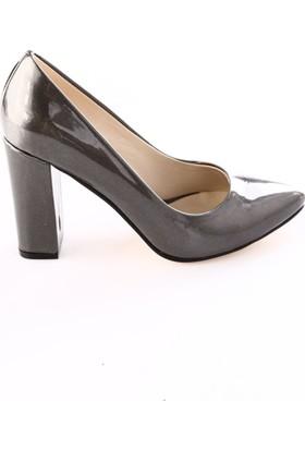 Dgn Kadın 3834 Sivri Burun Topuklu Ayakkabı Füme Sıvama Rugan