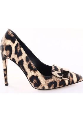 Lescarpe Kadın 413 Sivri Burun Dil Tokalı Çivi Topuklu Ayakkabı Leopar