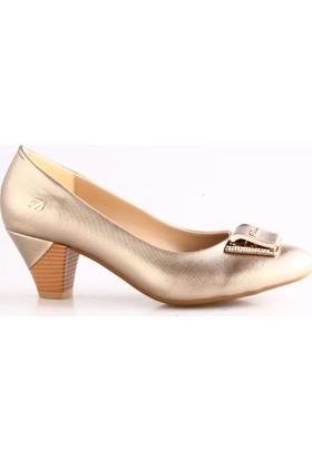 Dgn Kadın 435 Yuvarlak Burun Önü Taşlı Tokalı Alçak Topuklu Ayakkabı Altın Lazer
