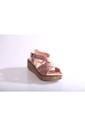 Dgn Kadın 5019 Dolgu Taban Sandalet Pudra