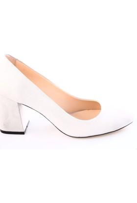 Dgn Kadın 5102 Küt Burun 11 Pont Kalın Topuklu Ayakkabı Gri Süet