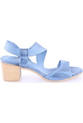Dgn Kadın 5131 Kısa Topuk Sandalet Mavi