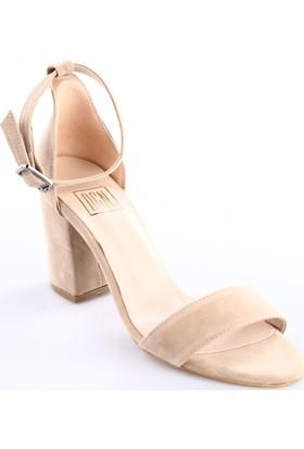 Dgn Kadın 540 Bilekten Bağlı Tek Band Topuklu Sandalet Ten Süet