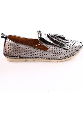 Beety Kadın 550 Püsküllü Soft Çarık Ayakkabı Platin