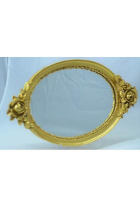 Gökçe Oval Polyester Aynalı Söz Nişan Çikolata Tepsisi Altın Sarısı