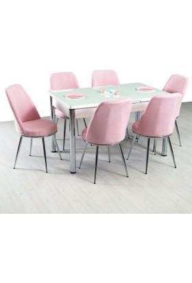 Evform Gold Mutfak Masa Takımı Açılır Mutfak Masası Masa Sandalye - Pembe