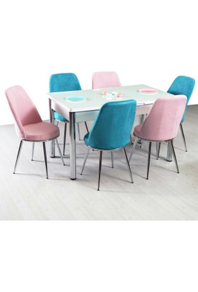 Evform Gold Mutfak Masa Takımı Açılır Mutfak Masası Masa Sandalye - Şeker Kombin