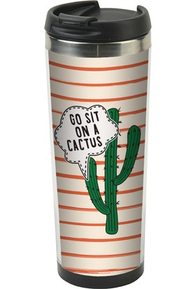 Allmug İçi Çelik Termos Mug - Go Sit On A Cactus