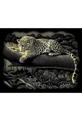 Reeves Altın Gravür Kazıma Seti - Ağaçta Leopar
