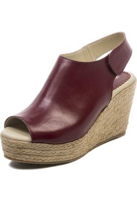 Jo'Scarlet Sara Kadın Bordo Dolgu Topuk Sandalet