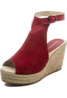 Jo'Scarlet Aspen Kadın Kırmızı Dolgu Topuk Sandalet