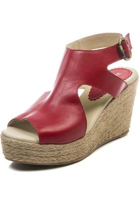 Jo'Scarlet Arwen Kadın Kırmızı Dolgu Topuk Sandalet
