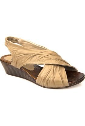 Ziya Kadın Hakiki Deri Sandalet 71113 160801 Vizon