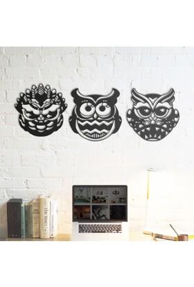 Domirror Deco Metal Tablo 3 Prç Crazy Owls