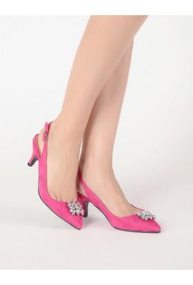 Mecrea Kadın Alessandra Fuşya Süet Tasarım Alçak Topuklu Ayakkabı
