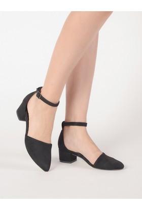 Mecrea Kadın Hailey Siyah Süet Alçak Topuklu Ayakkabı
