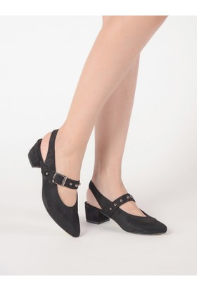Mecrea Kadın Maxwell Siyah Tasarım Alçak Topuklu Ayakkabı