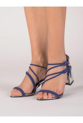 Mecrea Kadın Olivares Lacivert Tasarım Gümüş Ayna Topuklu Sandalet