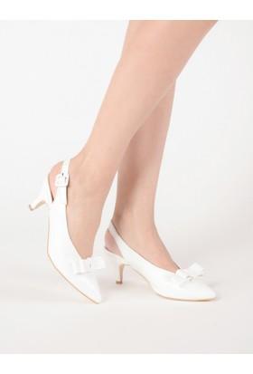 Mecrea Kadın Parıey Beyaz Fiyonklu Alçak Topuklu Ayakkabı