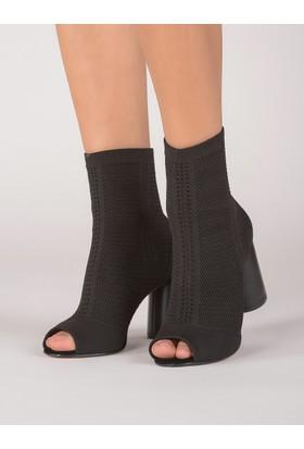 Mecrea Kadın Soares Siyah Strech Tasarım Topuklu Sandalet