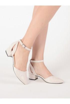 Mecrea Kadın Xavier Bej Süet Alçak Topuklu Ayakkabı