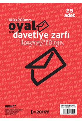 Oyal Zarf Davetiye 14X20 110Gr Beyaz 25 Li
