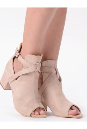 Mecrea Estella Bej Süet Açık Burun Topuklu Sandalet
