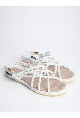 Mecrea Bryant Beyaz Örgü Bağlı Sandalet