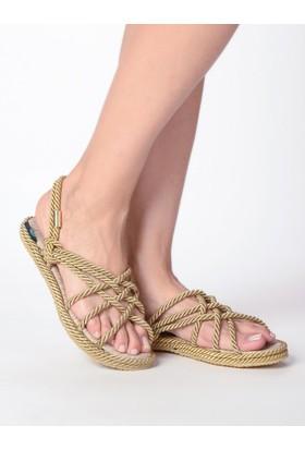 Mecrea Bryant Bej Örgü Bağlı Sandalet