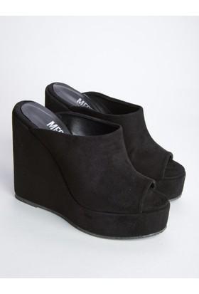 Mecrea Andreas Siyah Süet Dolgu Topuklu Sandalet