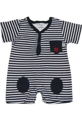 Begisa Çizgili Erkek Bebek Kısa Tulum