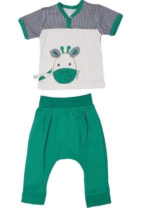 Begisa 2'li Şalvarlı Kısa Kol Unisex Bebek Yeşil Takım