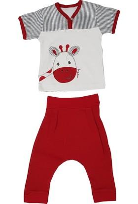 Begisa 2'li Şalvarlı Kısa Kol Unisex Kırmızı Bebek Takım