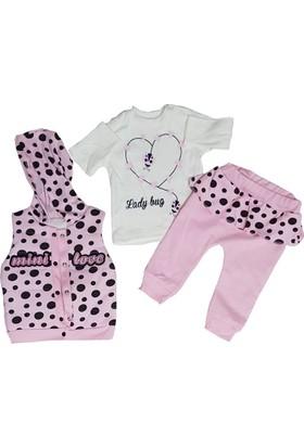 Mini Love Kapüşonlu Kız Bebek Pembe Yelekli 3'lü Takım