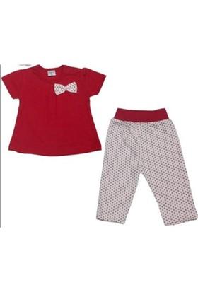 Minisse Kısa Kollu Kırmızı Puantiyeli Kız Bebek Takım