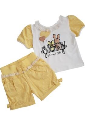 Modamini Sarı Şortlu Yazlık Kız Bebek Takım