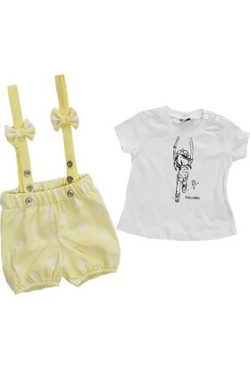 Kumru Sarı Şortlu Yazlık Kız Bebek Takım
