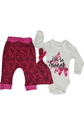 Mini Love Güllü Fuşya Rengi 3'lü Kız Bebek Zıbın Takım