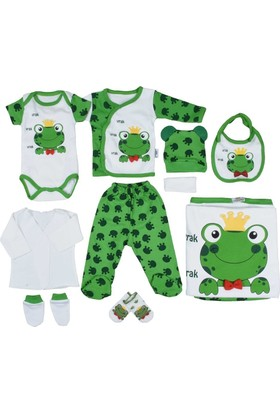 Pearly Kurbağalı Kız - Erkek Bebek 10'lu Hastane Çıkışı Seti - Yeşil