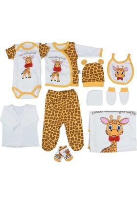 Pearly Zürafalı Kız - Erkek Bebek 10'lu Hastane Çıkışı Seti - Sarı