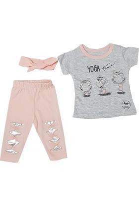 Hippıl Baby Yoga Yazılı Kız Bebek Takım