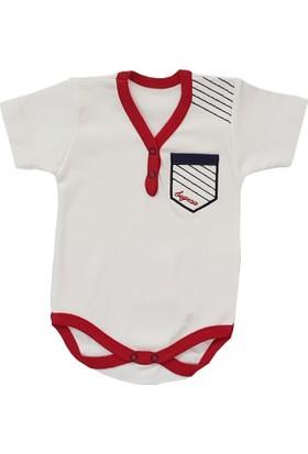 Begisa Kırmızı - Beyaz Bebek Body Zıbın