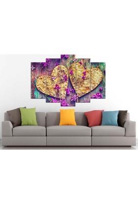 Sibiro Dekoratif Çiçek Konsept MDF Tablo Lila Kalpler 70 x 100 cm Azyct273