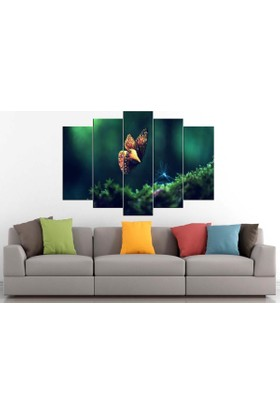 Sibiro Dekoratif MDF Tablo Yeşil Kelebek 70 x 100 cm Azyrpt36