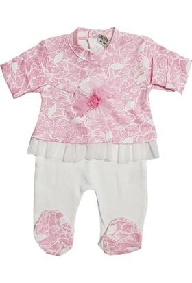 Jooy Kız Bebek Pembe Gül Süslü Tulum