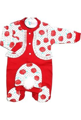Ezgi Baby Kırmızı 2'li Kız Bebek Tulum