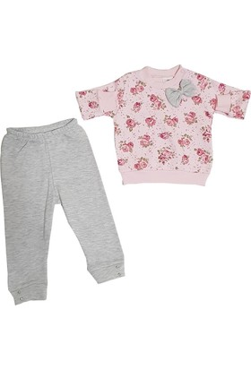 Bebiço Pembe - Gri Kız Bebek Takım Bebek Kıyafeti