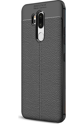 KNY LG G7 Kılıf Deri Desenli Lux Niss Silikon + Cam Ekran Koruyucu
